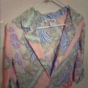 True Freedom Peach, Aqua & Purple Jacket Floral M